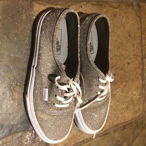 Sparkly Silver Vans Shoe SZ 6